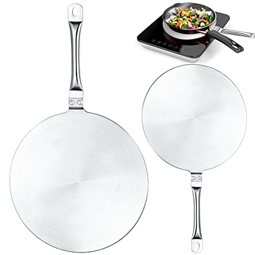 7.68 Inch and 9.25 Inch Heat Diffuser Set, Stainless Steel Induction Cooker Diffuser Plate with Stainless Handle for Gas Stove Glass Cooktop Converter, Induction Hob Pans