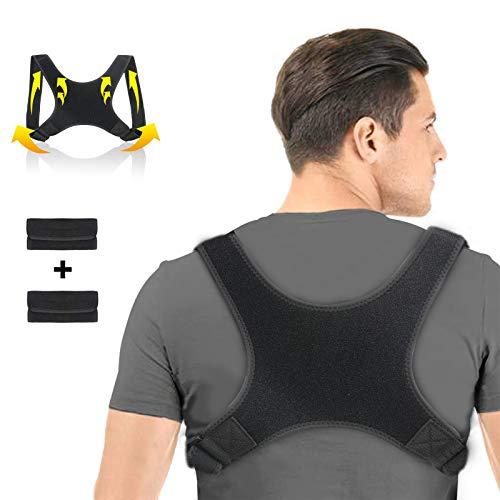 Charminer Haltungskorrektur, Geradehalter zur Rückentrainer Schulter Gürtel, Schwarz Verstellbar Atmungsaktiv Haltungstrainer mit 2 Schulterpolster, für Damen, Herren, Student