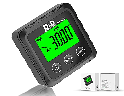 Digital Angle Gauge PT180 Level Box Protractor Inclinometer Angle Finder Magnetic Base Angle Cube for Woodworking Building Drilling Machinery Picture Hanging Micro Jig Table Saw (Black)