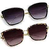 Joopin Oversized Cateye Sunglasses for Women, Fashion Metal Frame Cat Eye Womens Sunglasses (Black+Leopard)