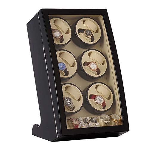 zyy Uhrenbeweger Zum 12 Uhren + 4 Aufbewahrungsposition Automatische Watch Winder Uhrenbox Lederkissen Leiser Motor 5 Rotationsmodi Hölzern Klavierlack