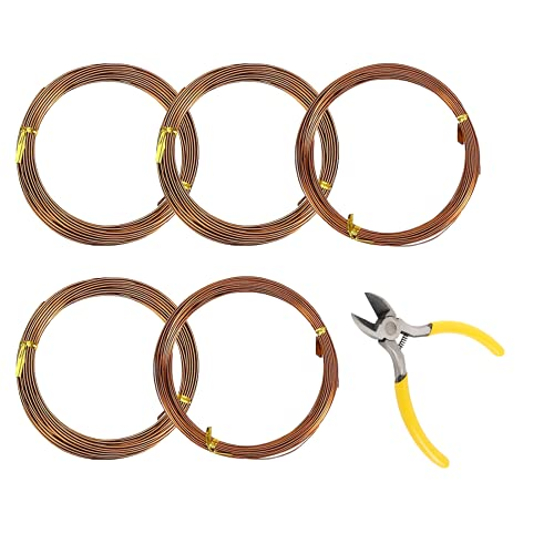 NA 5 Rolls Bonsai Wires and Bonsai Tool Kit, 5-Size Starter Set - 0.8mm,1mm,1.5mm,2mm,2.5mm(16 feet Each) with Wire Cutter Aluminum Wire for Shaping Styling Indoor Bonsai Trees (Brown)