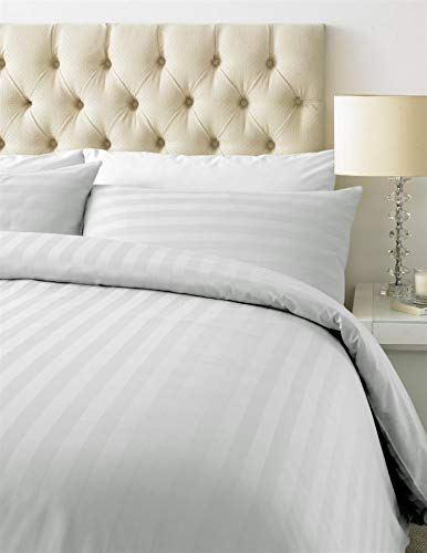 800TC Thread Count Luxurious Duvet Cover Set - Cotton Rich Satin Stripe-With Housewife Pillow Cases-Double-White