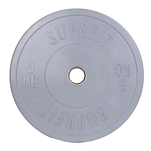 Suprfit, Bumper Plates, Dischi gommati e ammortizzanti per allenamento, peso: 5 – 50 kg, singolo o coppia, 50 mm di diametro buco, diametro disco 450 mm, assorbe gli urti, 5 kg – grigio.