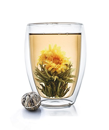Creano Doppelwandiges Thermoglas hoch XXL, Extra Großes Hitzebeständiges Kaffeeglas/Teeglas | 400ml inkl. Einer Teeblume