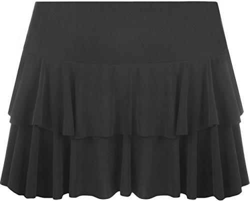 WearAll - Neu Damen RARA Mini Rock Kurz Skirt - Schwarz - 40-42