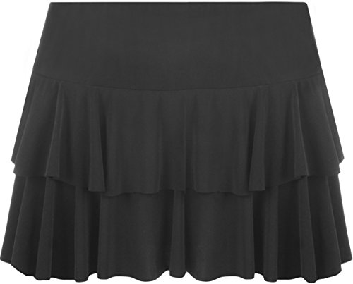 WearAll - Neu Damen RARA Mini Rock Kurz Skirt - Schwarz - 36-38