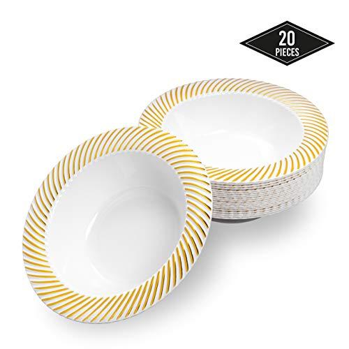 20 Elegante Plastik Einweg Schüsseln mit Goldrand, 18cm - Stabile & Wiederverwendbar| Suppenschüssel Einwegschalen Einweggeschirr| für Geburtstage Partys Hochzeiten Brautduschen Babypartys.