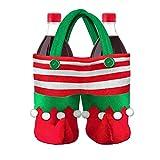 Bolsa 1PC del duende de caramelo bolsa de regalo creativo de la galleta Saco llenador de la media botella de vino de almacenamiento portátil partido de Navidad de la decoración del bolso saco