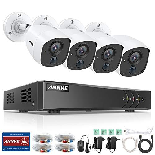 ANNKE 1080P Überwachungskamera System Set 4CH H.265+ 3MP DVR mit 4 x 1080P Metall Überwachungskamera Set,PIR Bewegungsmelder,Weißlichtalarm,E-Mail Benachrichtigung mit Schnappschüssen, Fernzugriff