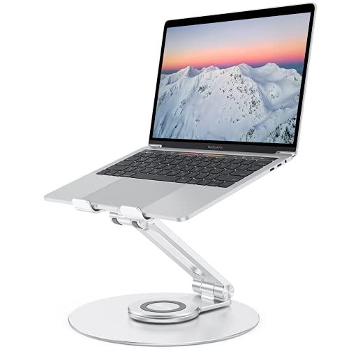 Supporto Laptop Regolabile Girevole, OMOTON 360° Supporto PC Portatile Brevettato Pieghevole per Lavoro Collaborativo, Laptop Stand Compatibile con MacBook Pro/Air, Notebook (11-16 Pollici), Argento