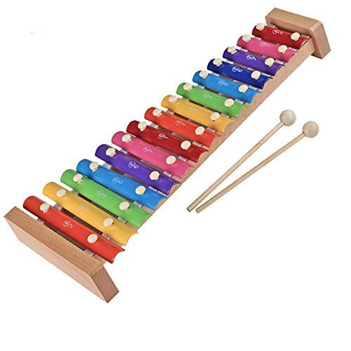 SMAA Glockenspiel Professionelle Xylophon mit 15 Metall Keys, Eichenholz-Blatt, Kindern Percussion, Geeignet für Kinder über 12 Monate, Regenbogen, 18inch