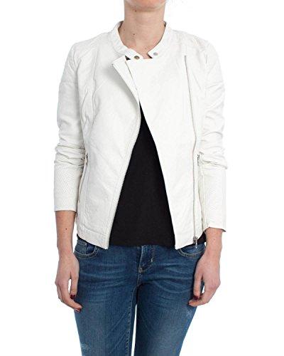 ONLY dames lederen jas LOUNGE PU BIKER Jacket zwart wit kunstleer