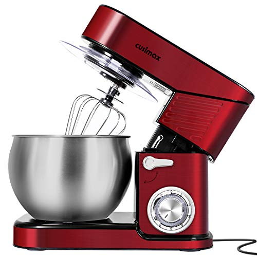 Stand Mixer, CUSIMAX 6.5-QT Mixer Stainless Steel kitchen Eiectric Mixer, 6-Speeds Tilt-Head Dough Mixers for Baking with Dough Hook, Wire Whisk & Flat Beater, Splash Guard for Home Cooking, Red
