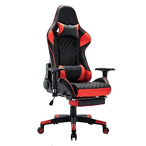 AJH Gaming Chair, Office Racing Stuhl mit Fußstütze, ergonomisches Design, verstellbare Kopfstütze, Lordosenstütze, 150 kg Gewichtskapazität