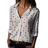 Blusa de Mujer,Verano Corazón Impresión Blusa Elegante Color sólido Manga Corta Blusa Camisa de Oficina Cuello en v Camiseta Tops Casual Fiesta T-Shirt Original tee vpass (Blanco, S)