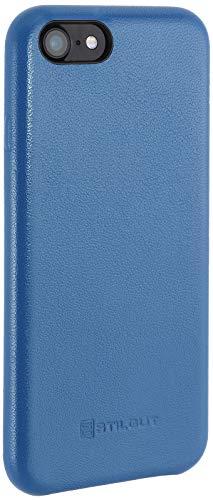 StilGut Premium Leder-Cover kompatibel mit iPhone SE 2020/iPhone 8/iPhone 7 aus Nappaleder, Aquablau