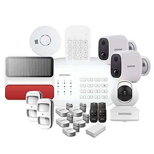 DAEWOO Pack Full Protect Pet   Alarme Maison sans Fil WiFi/GSM connectée Compatible Animaux   Sirène extérieure Solaire   3 Caméras   Compatible avec Amazon Alexa, l'Assistant Google