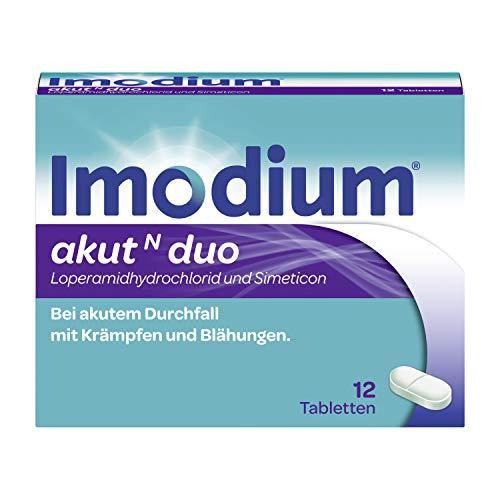 IMODIUM® akut N duo - Schnelle Hilfe bei akutem Durchfall – Lindert zusätzlich Krämpfe und Blähungen - 12 Tabletten