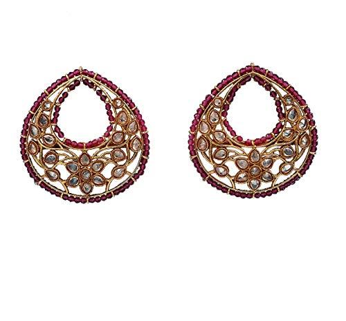 JewelryGift Shining Cluster Bali Pendientes chapados en oro con piedras de cristal diseño étnico joyería de moda para niñas y mujeres MT 22-ROSA
