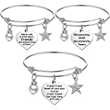 3 Pieces Friendship Bracelet Stainless Steel Adjustable Best Friend Bangle Bracelets Gift for Birthday Graduation Christmas (Style A)