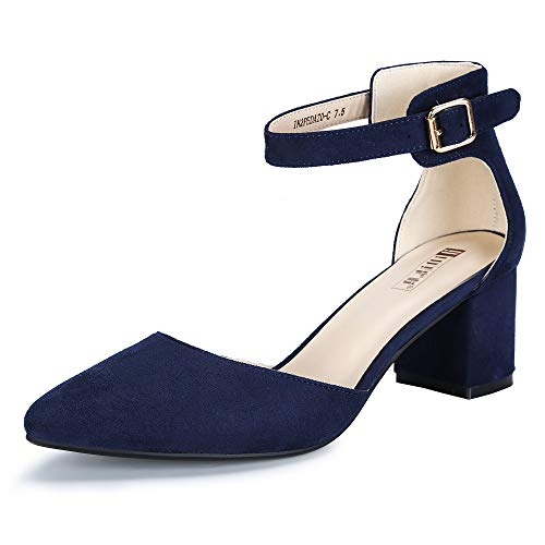 IDIFU Women's IN2 Pedazo Dress Shoes Low Block Heels Comfortable Chunky Closed Toe Ankle Strap Wedding Pumps(Blue Suede, 7 B(M) US)