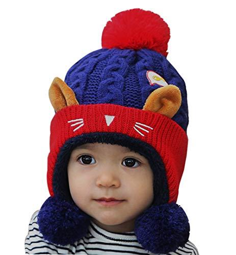 FEOYA - Bébé Chapeau Hiver Laine Garçon Bonnet Tricoté à Oreilles Fille Enfants Bonnet en Tricot Chaude Pompon Doublure Douce Automne - Bleu Foncé