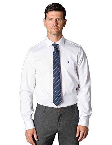 Etiem Camisa Semivestir Jacquard Blanco Hombre