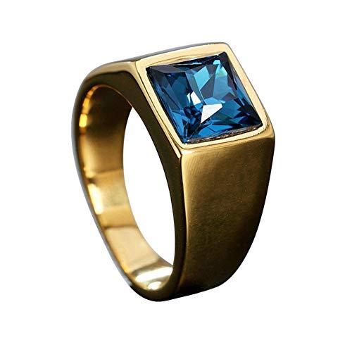 Ubestlove Siegelring Vergoldet Damen Forme Carree Edelstahlrings Eheringe Damen Damenring Zirkonia Gold Rot 64