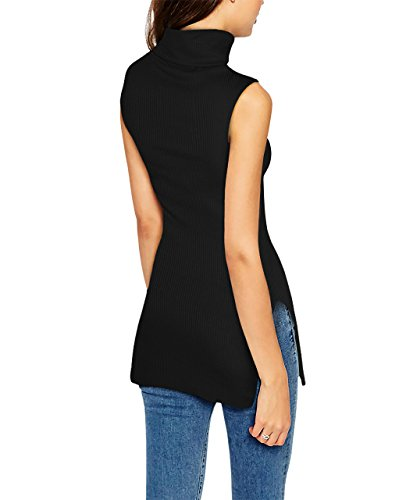 Hybrid & Company Womens Super Comfy Sleeveless Turtleneck Tunic Sweater KT45224 51347 Black S