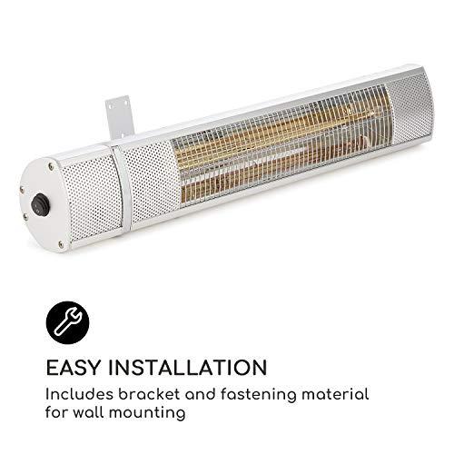 blumfeldt Gold Bar 2000 • Infrarot-Heizstrahler • Wand-Heizstrahler • max. 2000 Watt Leistung • regulierbar in 3 Stufen • einfache Installation • Gold-Infrarotröhre • Fernbedienung • silber - 3
