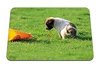 22cmx18cm マウスパッド (犬子犬おもちゃ草好奇心) パターンカスタムの マウスパッド