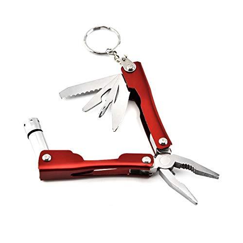 Multitool-Zange, Juli Miracle MINI Pocket Multitool-Set mit LED-Taschenlampe, Rot