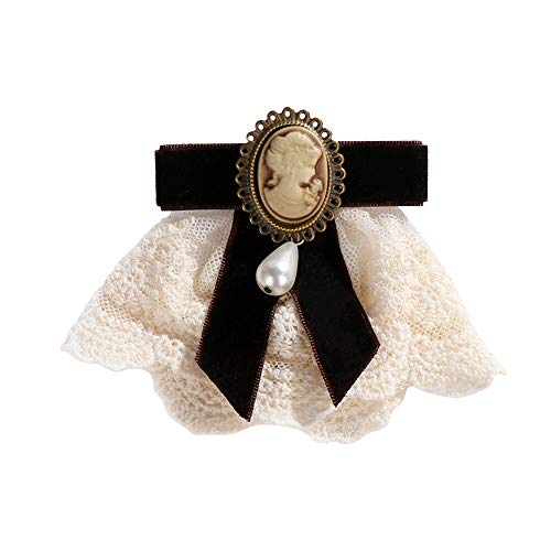 New 1pcs Women Elegant Lace Ribbon Bow Queen Cameo Pearl Vintage Brooch For Birthday Wedding Christmas Lady Gifts
