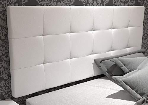 LA WEB DEL COLCHON - Cabecero tapizado Corfú para Cama de 150 (160 x 70 cms) Blanco | Cama Juvenil | Cama Matrimonio | Cabezal Cama |