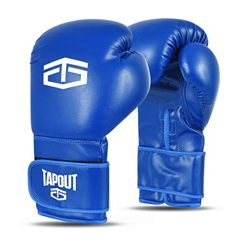 Tapout Guantes Boxeo Hombre Dura-Leather PU Training Sparring Classic (Azul, 14 oz)