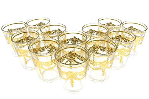 12 Orientalische Marokkanische Teegläser Niamir Gold, Gläserset, Kaffeegläser, Trinkgläser für Tee, Kaffee.