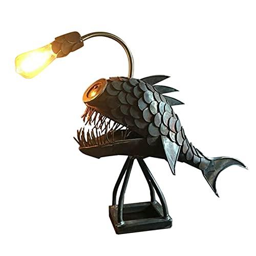 YANZHU Lámpara de Mesa de Estilo Retro Angler Fish Lámpara de Mesa de Hierro Forjado Lámpara de Mesa Retro Pesca Pez Lámpara de Tiburón Lámpara de Mesa Hecha a Mano Chic Lámpara Led