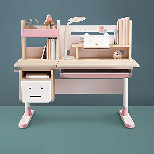 Ergonomic Multi Function Wood Adjustable Kids Study Desk Drafting Table and Computer Station with Book Shelf and Hutch (Pink, Chair is not Included)