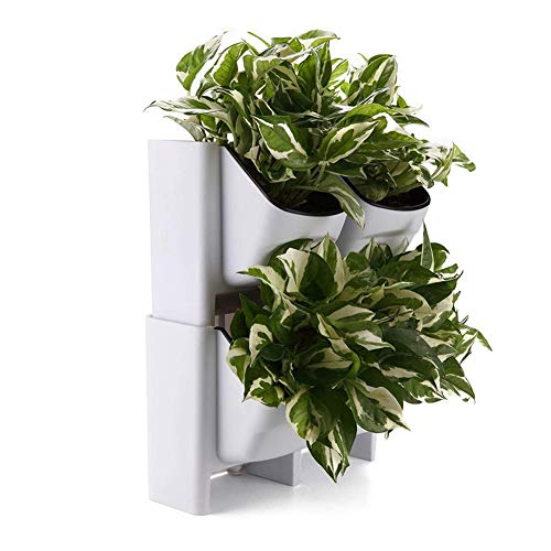 QAQWER Wand-Blumentopf 4 Taschen Vertikaler Wand-Blumentopf PP-Harz Wand-Pflanzgefäß Hängender Kunststoff-Topf Für Kräuter Gemüse Blumen Haus Garten