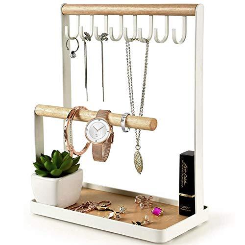Schmuckständerhalter, mehrstufige Halskette hängend Holzring Organizer Ohrring Tablett, Aufbewahrungsketten, Armbänder, Ringe und Uhren auf Schreibtisch Tischplatte