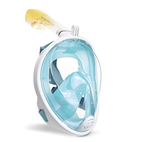 wolketon Tauchmaske Vollgesichtsmaske Schnorchelmaske 180° Sichtfeld Kamerahaltung Anti-Fog Anti-Leck für Erwachsene und Kinder (Grün L/XL)