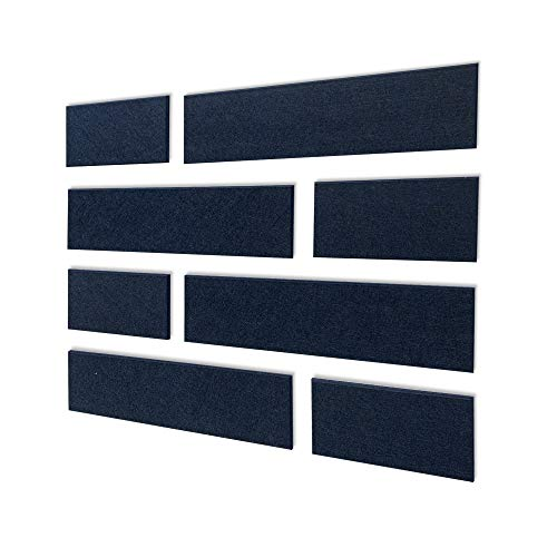 BUBOS New Acoustic Panels, Sound Absorption Wall Tiles, Multiple Colour, Sound deadening and Insulation Art Treatment with Beveled Edges, (8Pack, Navy Blue)