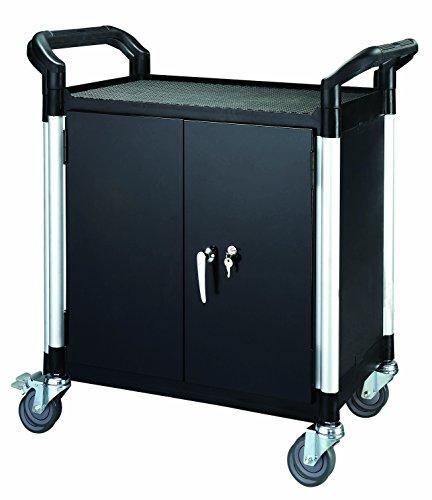 T-EQUIP Kunststoffwagen mit Türen, PSC-120MSRT, 2 Etagen, LxBxH: 850 x 480 x 950 mm, Kapazität: 200 kg