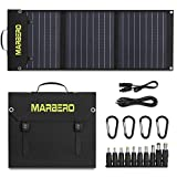 MARBERO 30W Solar Panel, Foldable Solar Panel Battery Charger for Portable Power Station Generator, iPhone, Ipad, Laptop, QC3.0 USB Ports & DC Output(10 Connectors) for Outdoor Camping Van RV Trip