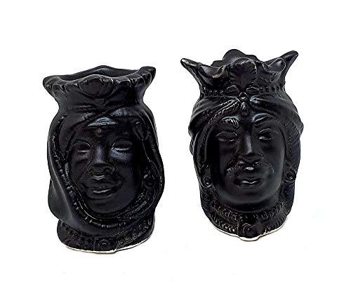 Sicilia Bedda – Par de cabezas de moro de cerámica de Caltagirone...