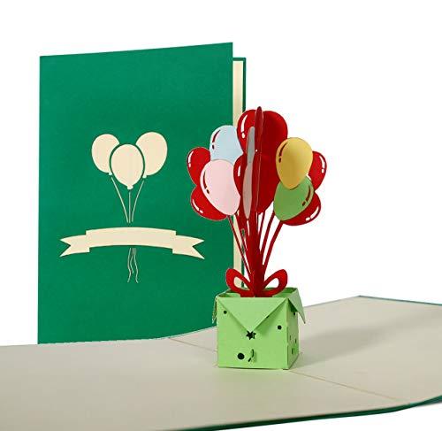 Geburtstagskarte 3D Motiv Geburtstagsballons, Pop Up, Gutschein, Glückwunschkarte, Grußkarte, Geschenkkarte, Einladung Kindergeburtstag, lustig, klassisch, hochwertig, edel, modern G15