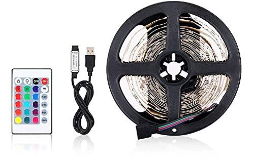 Tiras LED TV, Tira LED USB RGB 2m, Luces LED Habitación Gaming con Control Remoto y Caja de Control con Múltiples Colores y Modos de Escena, Autoadhesiva 2M para TV/PC, Eficiencia energética A
