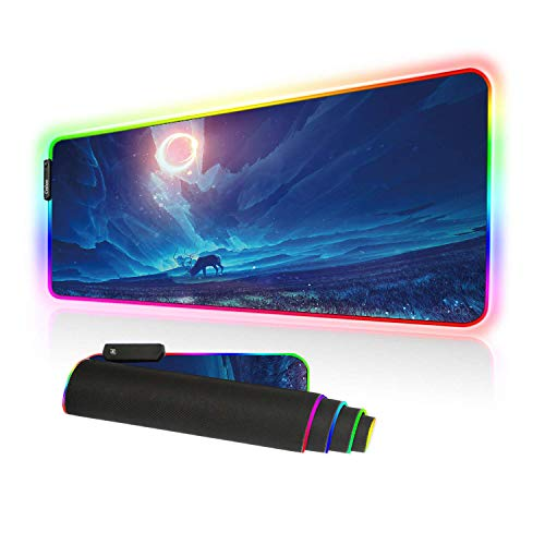 Cmhoo Gaming Mouse Pad Large, Oversized 10 Lighting Mode Thick Glowing LED Extended Mousepad ?Non-Slip Rubber Base Computer Keyboard Pad Mat (80x30 FGdeer)