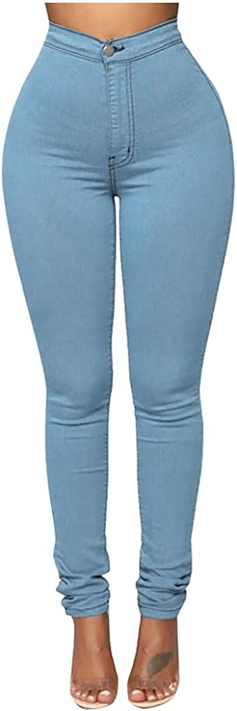 WUAI-Women Stretchy Jeggings High Waist Yoga Leggings Skinny Jeans with Pockets Plus Size